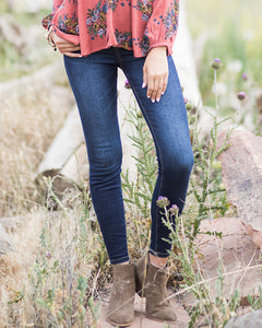 Classic Mid Rise Pull-On Jeggings - Dark Wash - Brooke & Kat Boutique