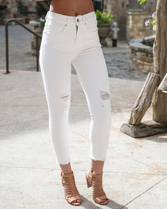 White Zipped Cropped Jeggings
