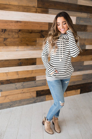 DoubleHood Sweater - Tan Stripe