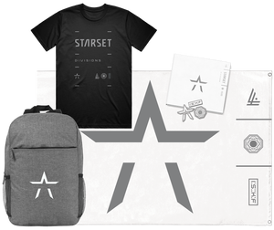 DIVISIONS CD, LOCK UP T, PIN SET, WALL FLAG AND BACKPACK - STARSET Merchandise