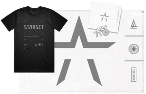 DIVISIONS UNSIGNED CD, LOCK UP T, PIN SET AND WALL FLAG - STARSET Merchandise