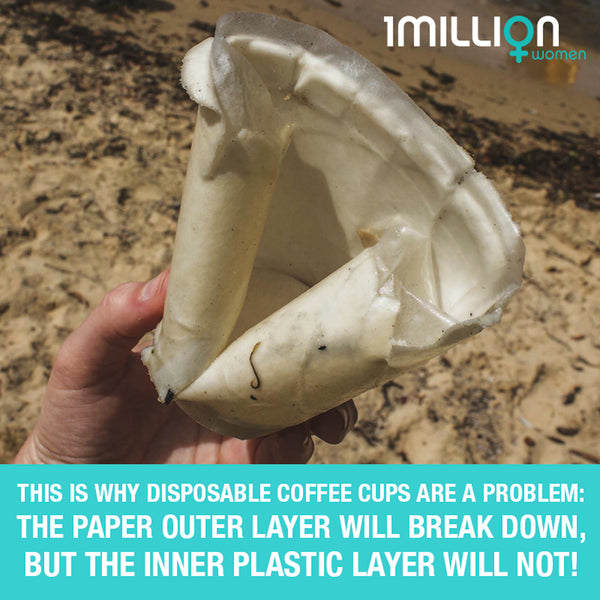 Partly decomposed coffee cup revealing plastic lining