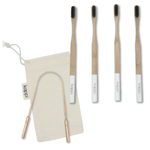Fresh Breath Kit | Bamboo Toothbrushes + 100% Copper Tongue Scraper