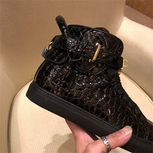 Chaussures luxe chic relief croco classe pour homme /  Men Embossed Crocodile High Top Sneakers