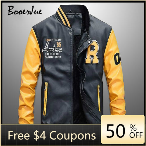Blouson de baseball cuir homme 2021 / Baseball Jackets Men Slim Fit 2021