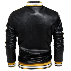 Blouson cuir homme bomber tendance / Jacket Streetwear Fashion Leather Bomber Jacket Autumn Coat Men