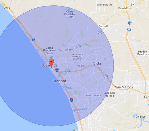 Oceanside Cold Press Juice and Smoothie Delivery Map OCEANSIDE