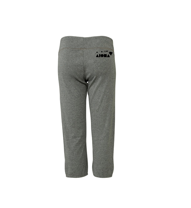 Aloha Shapes Heather Grey & Black Women's Capri Pants
