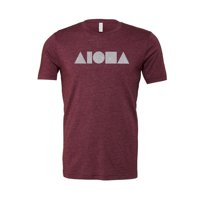 Aloha Shapes® hand screen printed on front of maroon youth t-shirt with Hawaiian islands on back