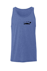 Blue Triblend unisex tank hand-screenprinted with Hawaiian islands and Aloha Shapes ® logo in black