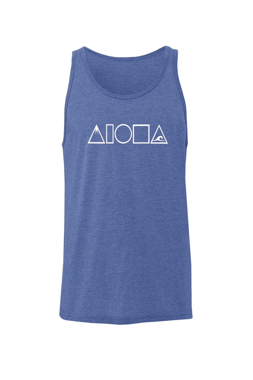Heather blue unisex triblend tank top printed on front chest with white Mauka to Makai Aloha Shapes logo