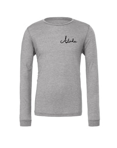 Light grey long sleeve unisex tee printed on front left chest with Aloha written in cursive