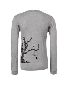 "Light grey long sleeve unisex tee screen printed on back with ""Giving Tree"" design Hawaiian islands hanging from a tree branch"