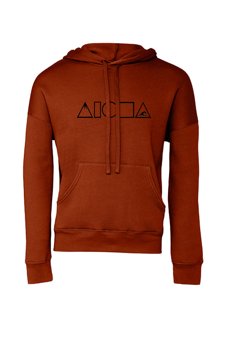 brick red color unisex pullover fleece hoodie hand screen printed with Mauka to Makai Aloha Shapes logo in black
