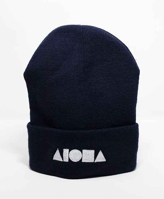 navy blue knit cuffed high-top beanie embroidered with Aloha Shapes logo in silver