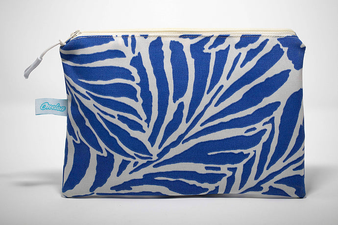 Oneloa Dark Blue Tropical Leaf Clutch Size Wet/Dry Bag