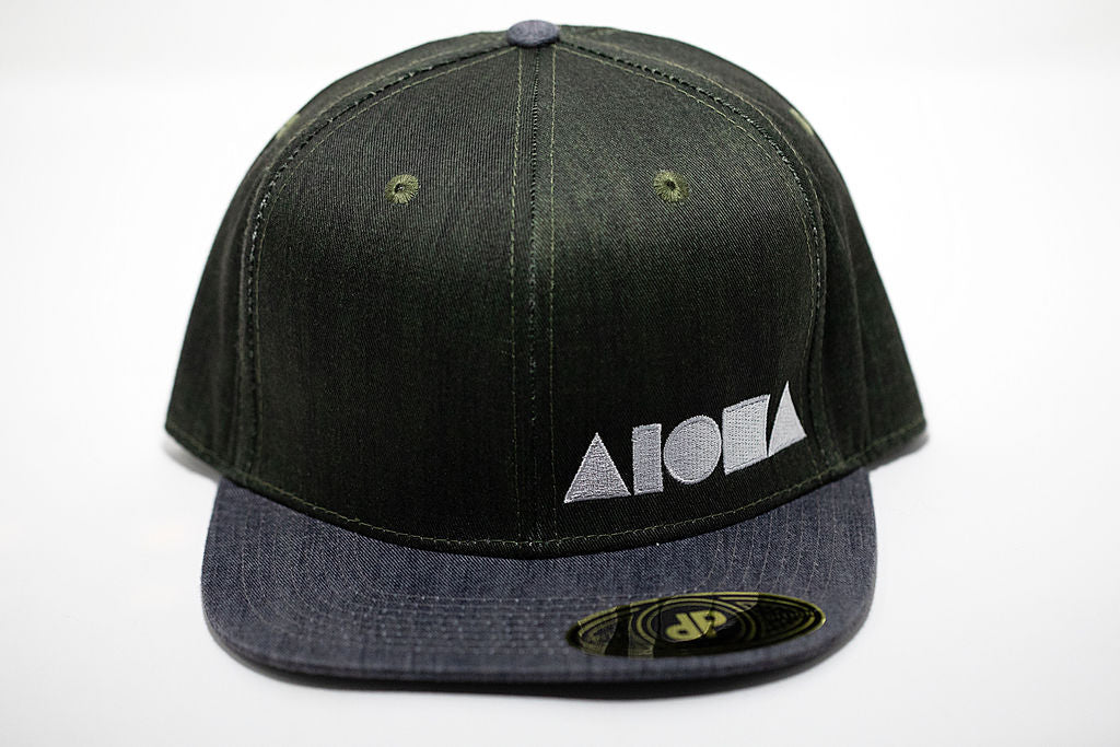 Green and grey denim adult flat brim snapback hat embroidered with white Aloha Shapes ® logo