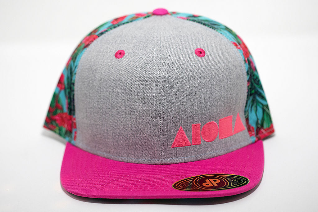 Pink floral adult flat brim snapback embroidered with pink Aloha Shapes ® logo