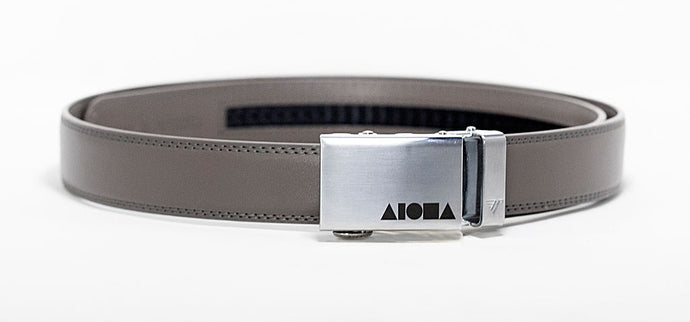 Grey leather Aloha Shapes ® Mission Belt with steel buckle