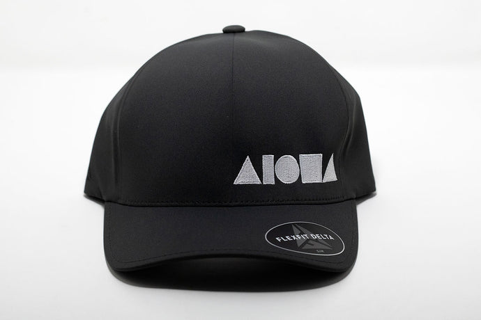 Delta Flexfit adult hat in dark grey with Alohs Shapes ® logo embroidered in white