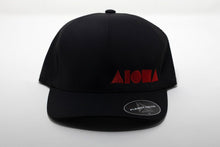 Adult Flexfit curved bill hat. Black with red embroidered ALOHA Shapes ® logo. Waterproof material and elastic Flexfit band inside.