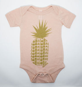 Repeat Pineapple Peach & Gold Babies One Piece
