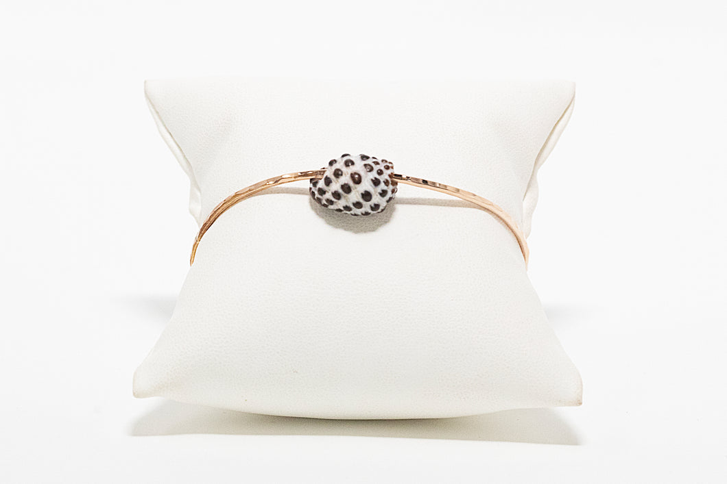 Rose gold bangle bracelet with drupe shell charm handmade in Maui, Hawaii