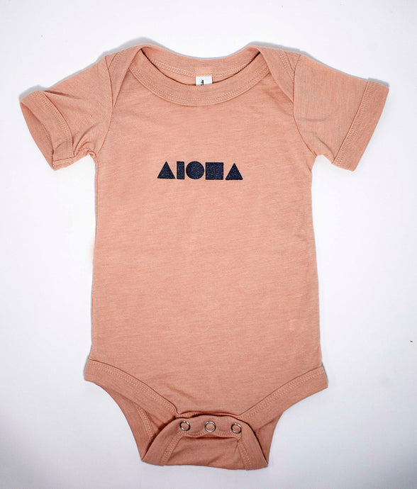 Aloha Shapes Peach & Silver Babies One Piece