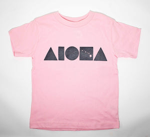 Aloha Shapes Islands Pink & Silver Toddler Tee