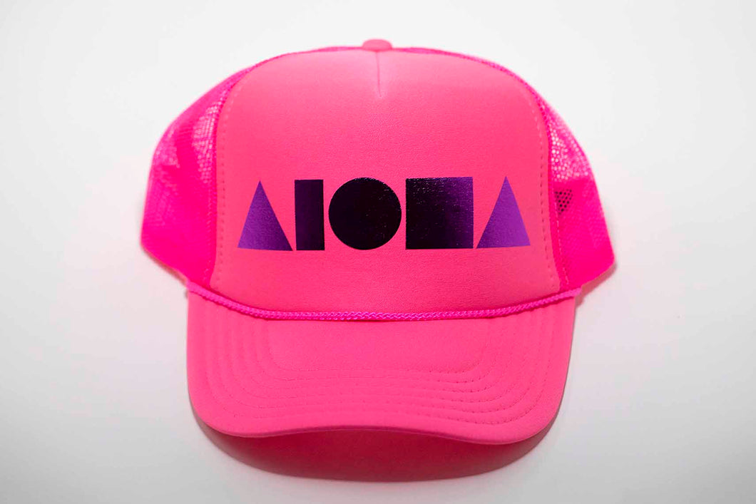 Aloha Shapes ® logo foil printed in purple on a neon pink adult trucker hat