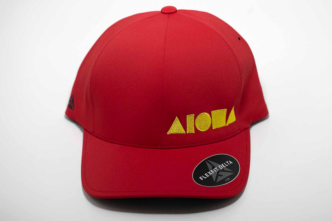 Aloha Shapes ® logo embroidered in yellow on a red adult Flexfit hat