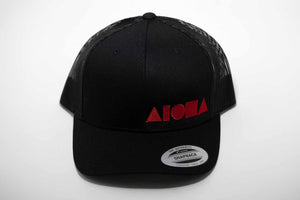 Aloha Shapes ® logo embroidered in red on an all black curved bill/mesh back snapback hat.