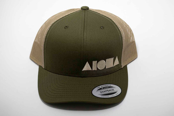 Adult curved bill snapback hat. Military green brim and front panels. Khaki color mesh back panels. Tan color embroidered Aloha Shapes® logo.