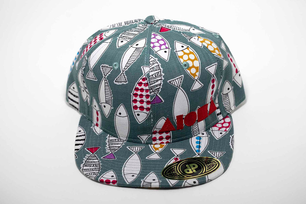 Doodled fish pattern fabric with red embroidered Aloha Shapes ® logo adult flat brim snapback hat