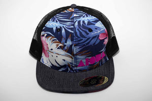 Adult flat brim snapback hat. Black denim flat brim. Blue and pink floral pattern front panels. Black mesh back panels. Embroidered with pink Aloha Shapes® logo.