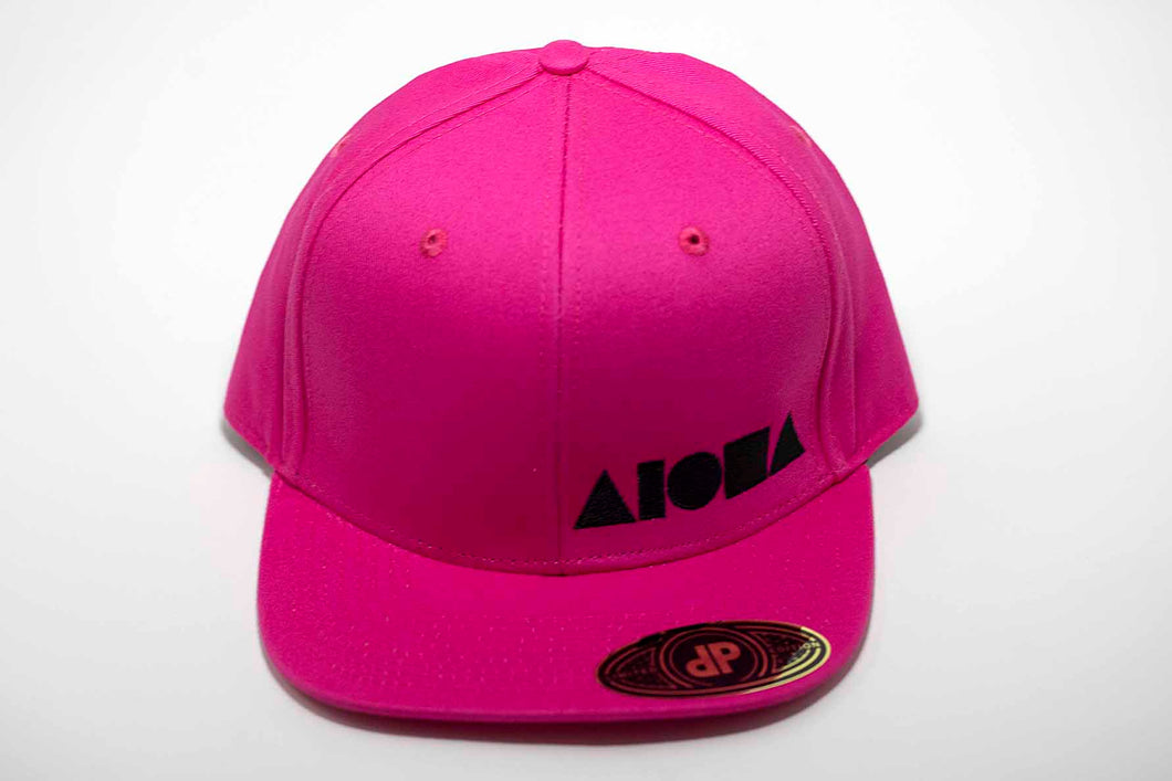 Hot pink adult flat brim snapback hat embroidered with black Aloha Shapes ® logo