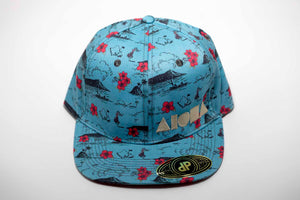Adult flat brim Snapback hat with blue and red Hawaiian fabric embroidered with Aloha Shapes ® logo