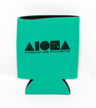 "Green Aloha Shapes ® logo koozie with tagline below ""It's not just love, it's a lifestyle"""