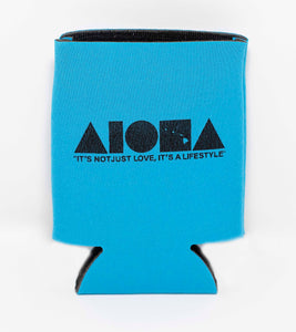 "Blue Aloha Shapes ® logo koozie with tagline below ""It's not just love, it's a lifestyle"""