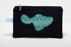 Black canvas coin purse embroidered with blue fish scale out line of Maui island. Handmade