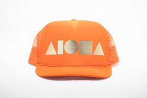Orange youth trucker hat foil printed with metallic gold Aloha Shapes ® logo
