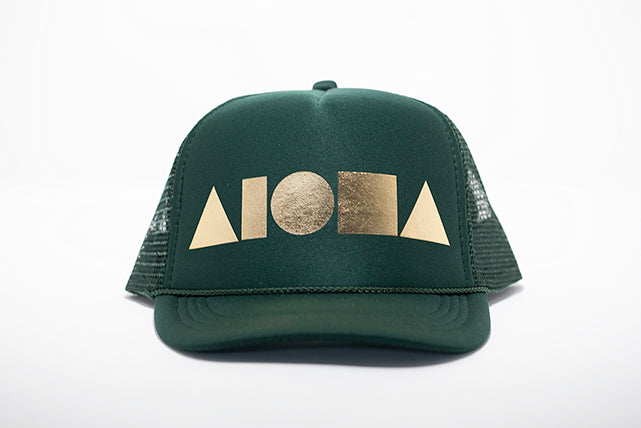 Dark green foam youth trucker hat foil printed with metallic gold Aloha Shapes ® logo