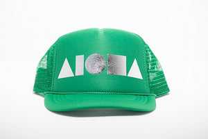 Green foam youth trucker hat foil printed with metallic silver Aloha Shapes ® logo