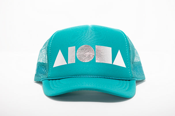 Turquoise youth foam trucker hat foil printed with metallic silver Aloha Shapes ® logo