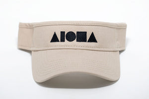 Adult visor in khaki color. Embroidered with black ALOHA Shapes ® logo