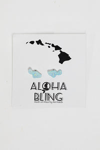 "Aloha Bling ""Green Opal Maui"" Stud Earrings"