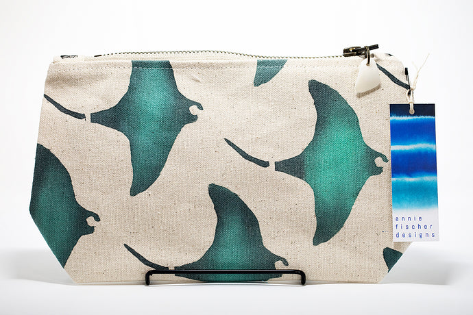 Annie Fischer Designs Manta Ray Handpainted Clutch Purse