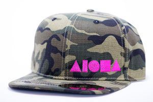 Adult flat brim snapback hat. Military green/brown camo fabric all over hat. Embroidered with neon pink ALOHA Shapes ® logo