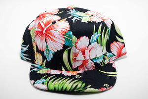 Tropical floral print toddler flatbrim snapback hat embroidered with white Aloha Shapes ® logo