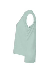 Side view of womens flowy muscle tee